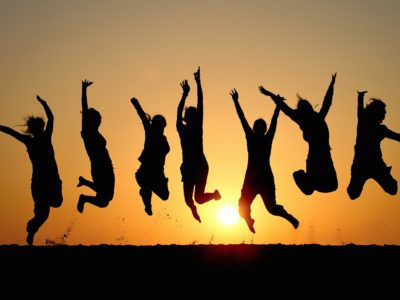 This is a picture of jumping happy people